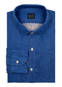 Midnight Blue Linen Sport Shirt