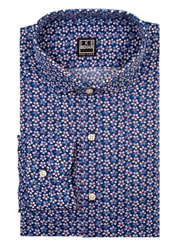 Floral Print Stretch Cotton Sport Shirt