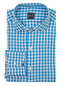 Aqua Check Linen Cotton Blend Sport Shirt