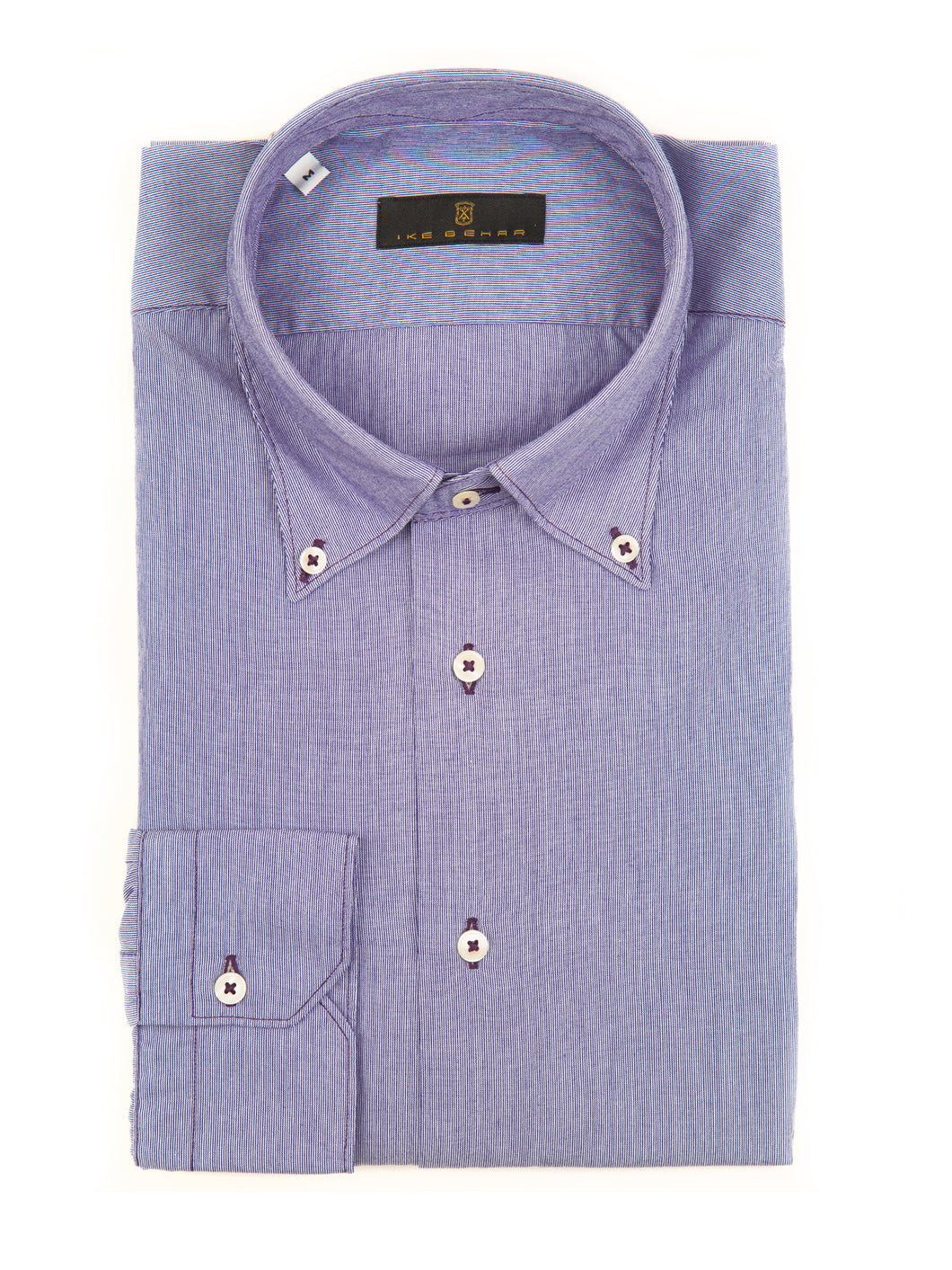 Indigo Shadow Stripe Sport Shirt with Merlot Contrast Stitching