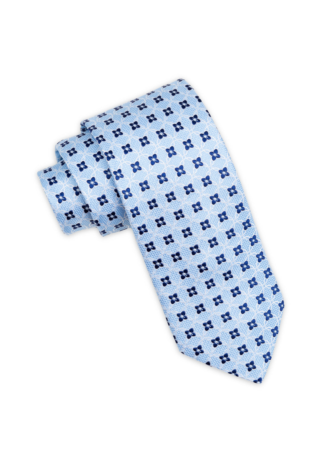 Blue Floral Club Pattern Silk Tie