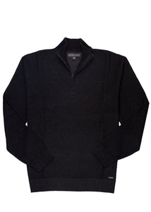 Almost Black Ike by Ike Behar 1/4 Zip Waffle-Pique Sweater
