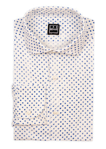 White with Blue Dot Print Linen Sport Shirt