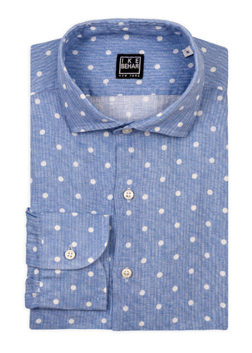 Blue with White Dot Print Linen Sport Shirt