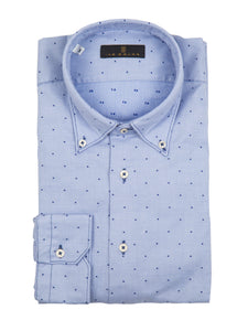 Blue Textured Micro-Dot Sport Shirt