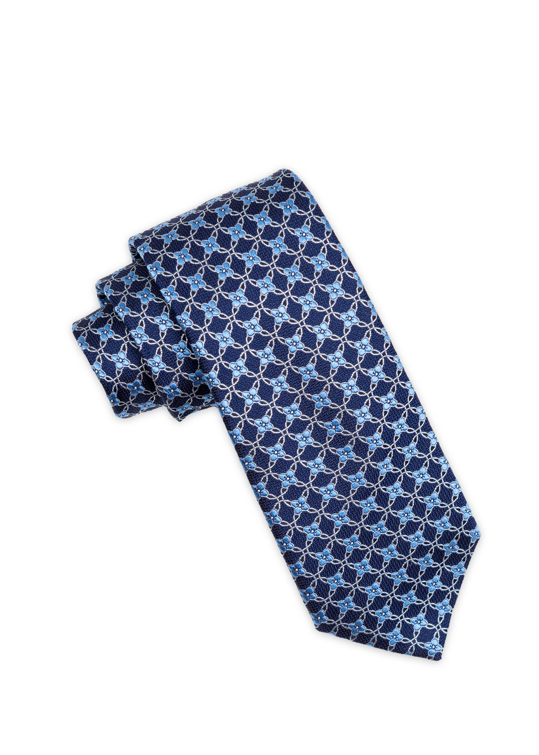 Navy Floral Club Pattern Silk Tie