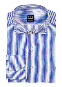 Painted Stripe Print Stretch Cotton Sport Shirt