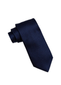 Navy Diamond Weave Silk Tie