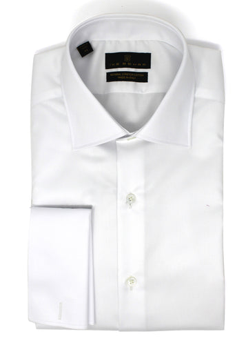 White Twill Natural Stretch Cotton French Cuff Dress Shirt
