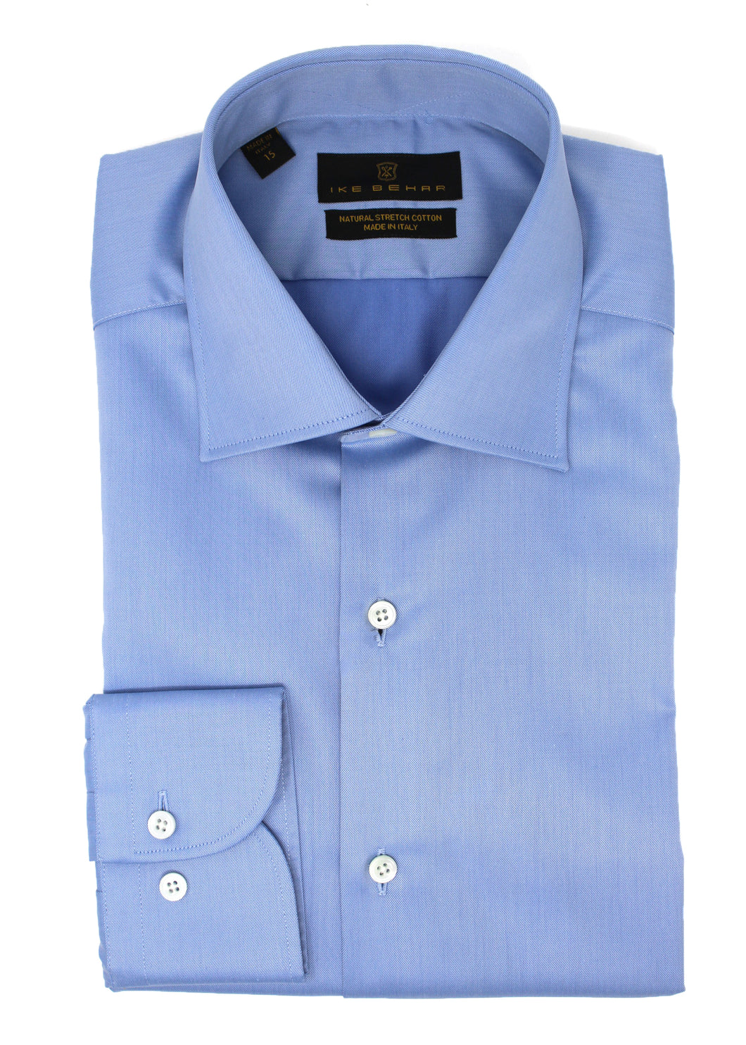French Blue Twill Natural Stretch Cotton Dress Shirt