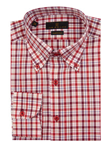 Berry Check Button Down Sport Shirt