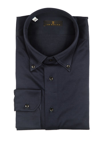 Navy Knit Button-Down Sport Shirt