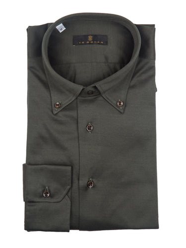 Green Knit Button-Down Sport Shirt