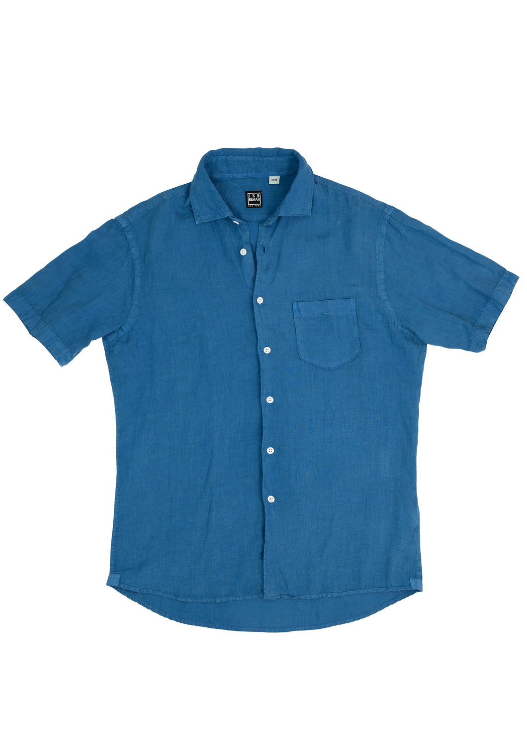 Blue Linen Short Sleeve Sport Shirt