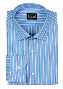 Blue Multi-Stripe Ike by Ike Behar Dress Shirt