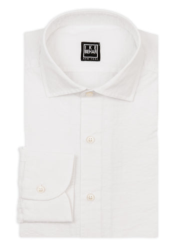 White Shadow Stripe Linen Cotton Blend Sport Shirt
