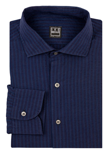 Navy Shadow Stripe Linen Cotton Blend Sport Shirt