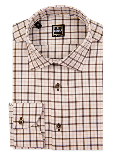 Brown and Creme Check Sport Shirt