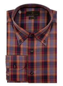 Multi Check Button Down Sport Shirt