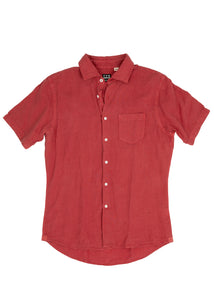 Red Linen Short Sleeve Sport Shirt