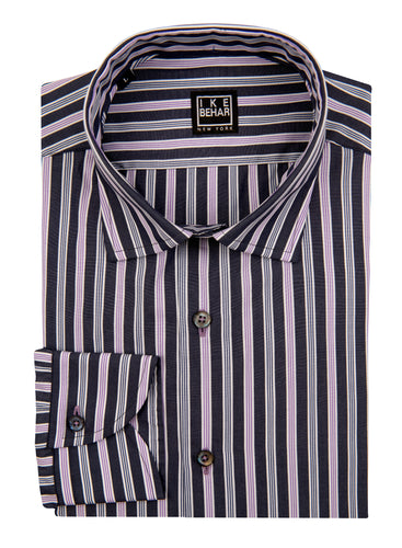 Black and Lavender Multi Stripe Sport Shirt
