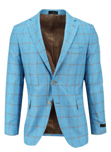 Aqua with Tan Windowpane Sport Coat