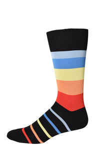 Charcoal Four Color Stripe Socks