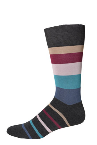 Grey Four Color Stripe Socks