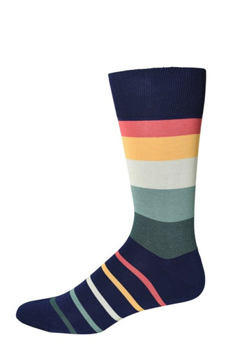 Navy Four Color Stripe Socks