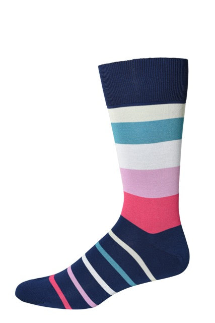 Light Navy Four Color Stripe Socks