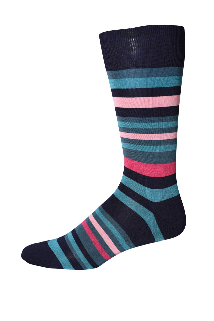 Blue/Pink Multi-Stripe Socks