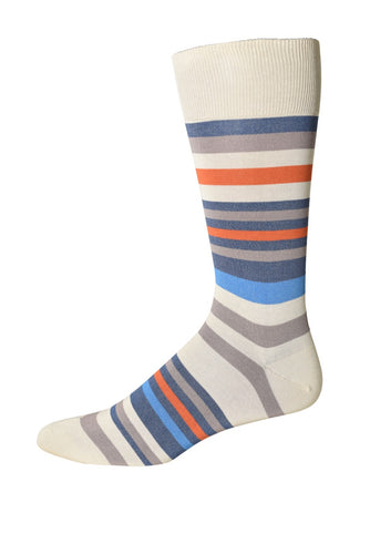 Creme/Orange Multi-Stripe Socks