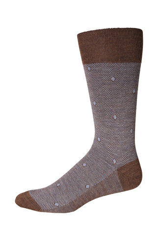 Brown & Sky Herringbone Socks