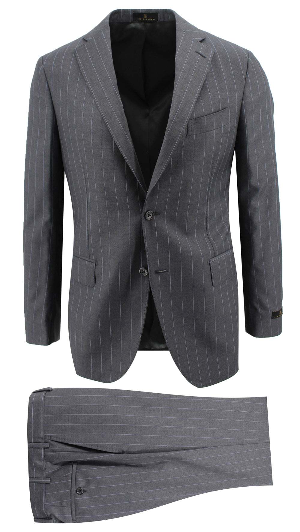 Charcoal with Sky Blue Pinstripe Suit