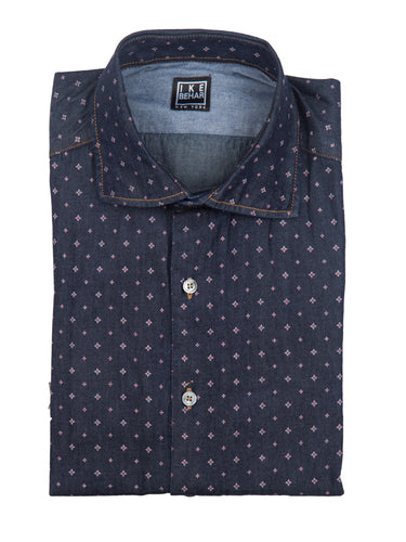 Denim Star Print Sport Shirt