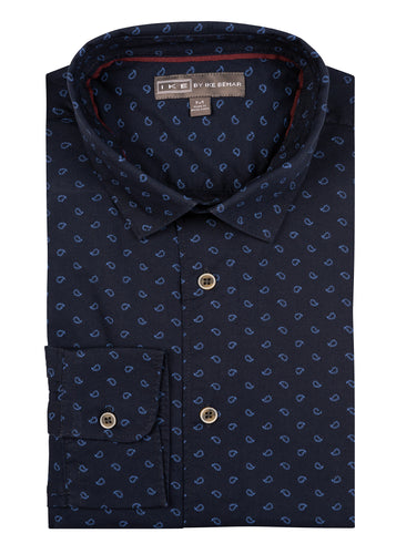 Navy Baby Paisley Print Ike by Ike Behar Sport Shirt