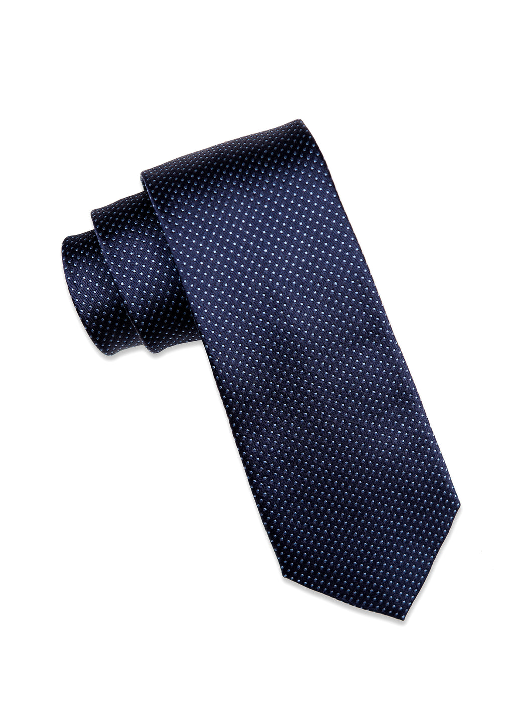 Navy Silk Tie with Sky Blue Micro-Dot