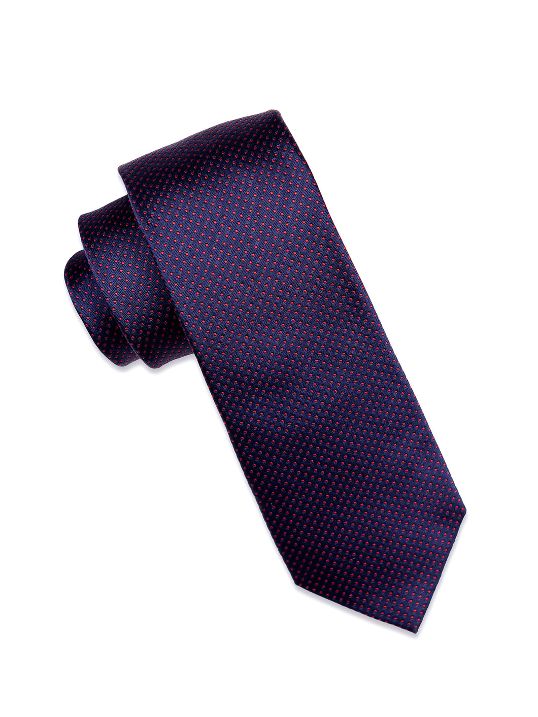 Navy Silk Tie with Red Micro-Dot