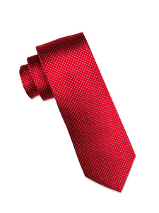 Berry Silk Tie with Grey Micro-Dot