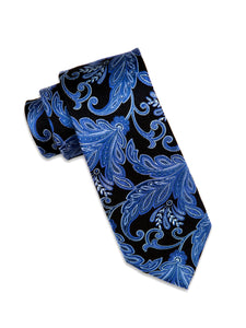 Black and Royal Blue Paisley Silk Tie