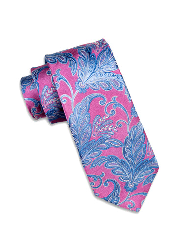 Pink and Sky Blue Paisley Silk Tie
