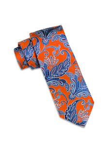 Orange and Multi-Blue Paisley Silk Tie