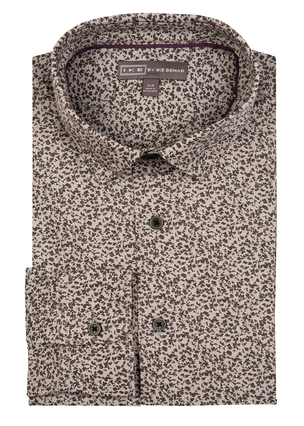 Grey Floral Print Ike by Ike Behar Sport Shirt