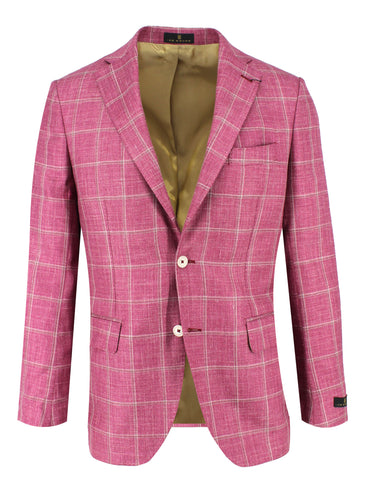 Rose with White Windowpane Sport Coat