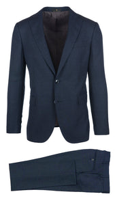 Melange Navy Check Suit