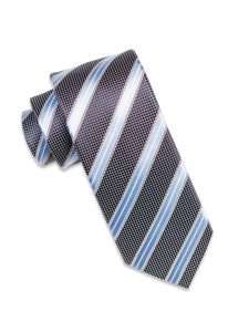Black Check Silk Tie with Sky Blue/White Stripe