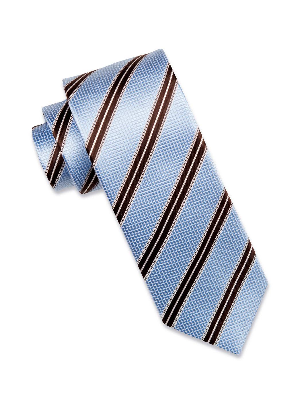 Sky Blue Check Silk Tie with Coffee/White Stripe