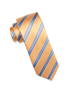 Gold Check Silk Tie with Sky Blue/White stripe
