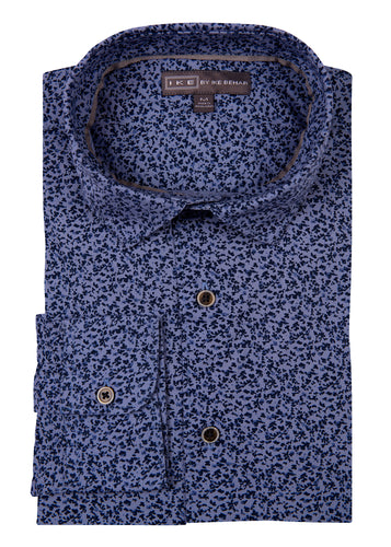 Blue Floral Print Ike by Ike Behar Sport Shirt