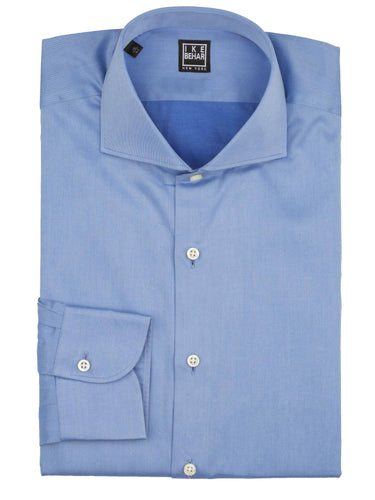 Spread Collar Blue Italian Twill Dress Shirt